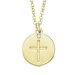 14k Yellow gold with White diamond engraved mini Cross disc pendant necklace