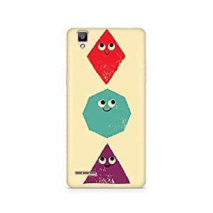 Motivatebox- Geometric Monsters Premium Printed Case For Oppo F1 -Matte Polycarbonate 3D Hard case Mobile Cell Phone Protective BACK CASE COVER. Hard Shockproof Scratch-
