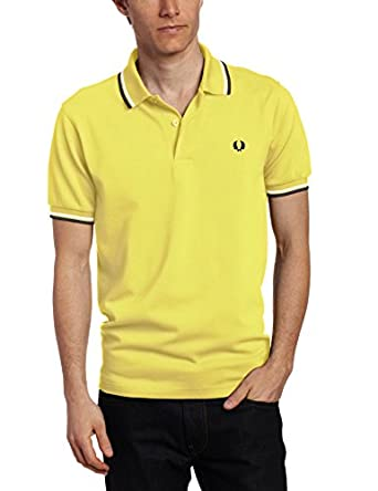 Fred Perry Men's Twin Tipped Polo Shirt, Limelight/Porcelain/French Navy, Small