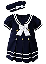 Baby Toddler Girls Nautical Sailor Dress with Hat Style-A Small / 3-6 Months Navy
