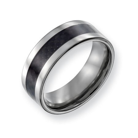 Titanium 8mm Polished with Carbon Fiber Inlay Band Ring - Size 8.5 - JewelryWeb