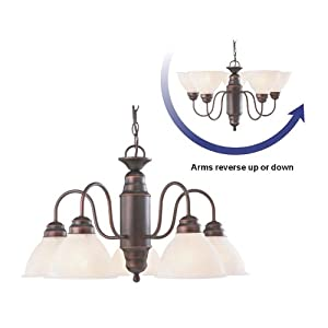 Portfolio 23.37-in 5-Light Oil-Rubbed Bronze Country Cottage Hardwired Alabaster Glass Shaded Standard Chandelier