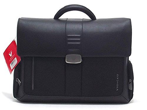 """Roncato borsa uomo, Heritage 400211, cartella porta pc 15.6"""" tre comparti in pelle, colore nero"""