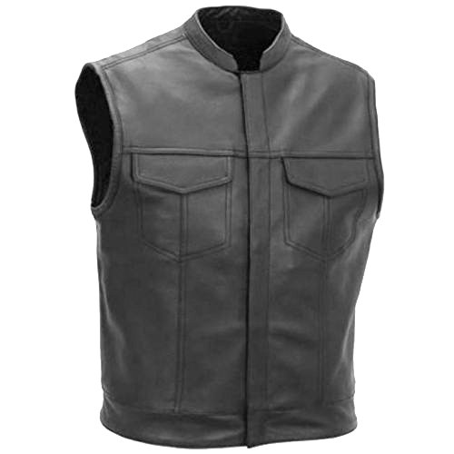 SONS OF ANARCHY STYLE LEATHER MOTORCYCLE VEST WAISTCOAT BLACK 2XL
