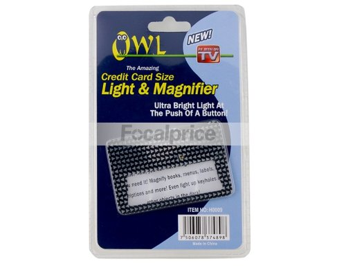 As Seen On T.V. Amazing OWL Credit Card Size Magnifier and Light Black BONUS BALLOON HELICOPTER TOY WITH EACH PURCHASE