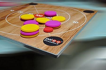 PALOU - Jeu bois magnétique - 490x490mm - Jeu palet personnalisable pour tous les âges - planche, cible magnétique et 2x6 palets pour jouer à l'horizontale ou à la verticale - Cadeau de Noel Idéal