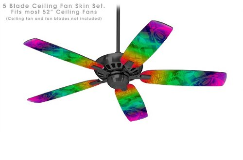 Rainbow Butterflies - Ceiling Fan Vinyl Decal Skin Kit fits most 52 inch fans (FAN and BLADES SOLD SEPARATELY)