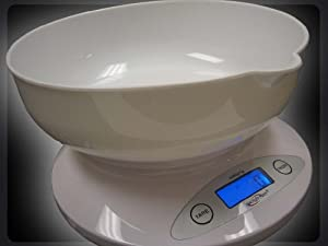 Kitchen Scale - 11lb/5kg Digital Kitchen and Postal Weigh Scale - With Bowl For Food Storage! (White)