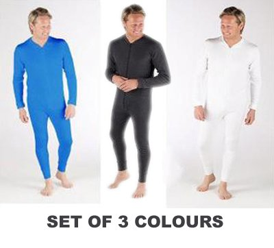 Set Of 3 Colours All In One Thermal Underwear Boiler Suit, Various Sizes