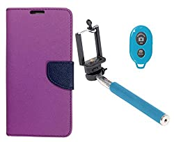 Novo Style Book Style Folio Wallet Case Micromax Canvas Selfie Lens Q345 Purple + Selfie Stick with Adjustable Phone Holder and Bluetooth Wireless Remote Shutter