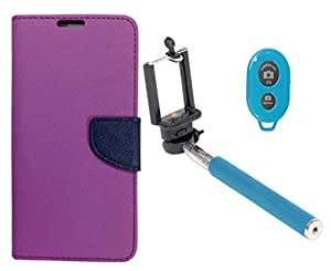 Novo Style Book Style Folio Wallet Case Micromax Canvas Nitro A310 Purple + Selfie Stick with Adjustable Phone Holder and Bluetooth Wireless Remote Shutter