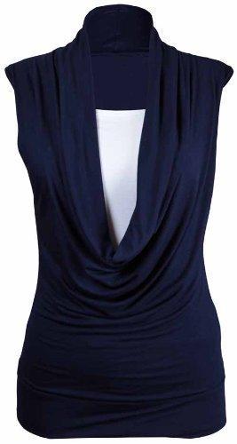 Purple Hanger - Damen Hemd Top Neu Gekräuselter Wasserfall Ausschnitt Ärmellos Dehnbar Übergröße - 44-46, Marineblau