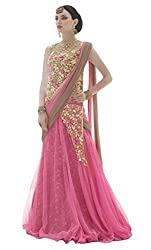 Sitaram womans semistitched net lahenga choli gown type dress material with embrodery.