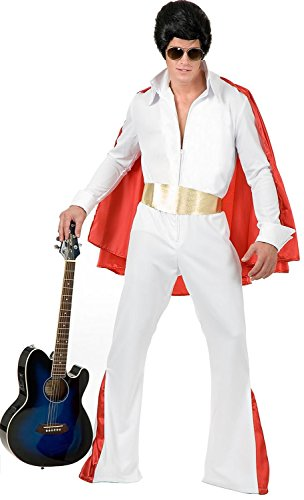ORIGINAL Classic Rock Star Costume in Polyester White with CAPE (Guitar not included)