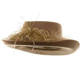 Fur Band Wool Felt Hat-Camel