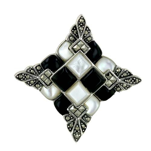 Sterling Silver Marcasite White Mother-of-Pearl and Onyx Art Decoration Pin