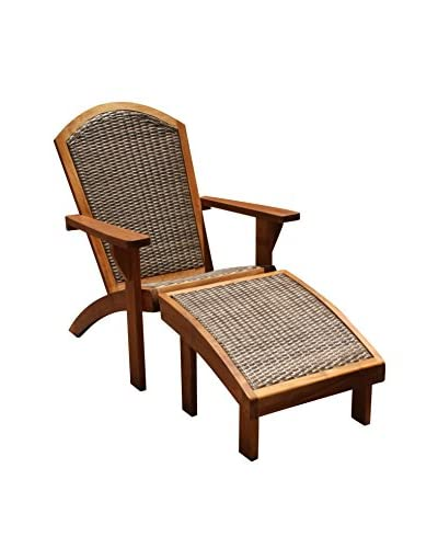 Panama Jack Leeward Islands Natural Teak Relax Chair & Ottoman