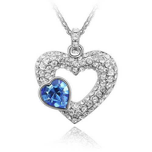 Top Value Jewelry - Unique 18K Gold Plated White And Sapphire Pave Crystal Heart Pendant Necklace, Free 18 Inch Chain