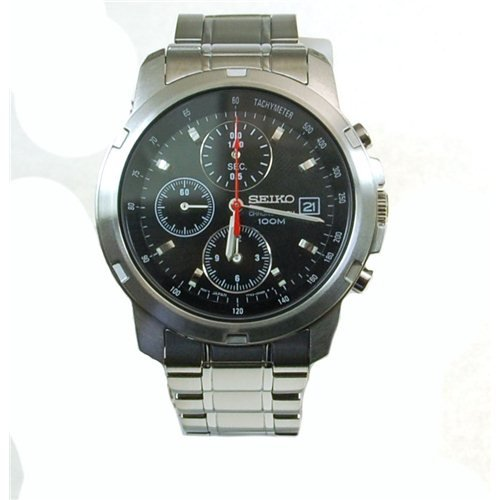 Seiko Men's Quartz Chronograph Watch SNDB03P1 with Stainless Steel Chrono Bracelet and Black Dial