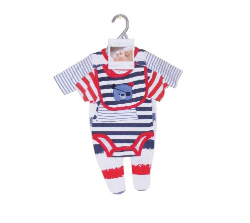 4th of July Colors 4 Piece Outfit for Baby 0-3 Months