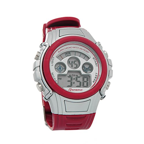 Mingrui Fashion New Multifunction Boy Digital Led Quartz Alarm Date Sports Wrist Watch Waterproof Red