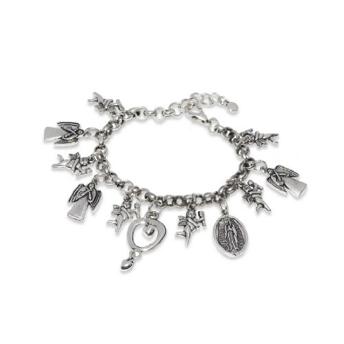 8-Inch Silver Heavy Religion Style Pendant Link Bracelet Chain Jewellery