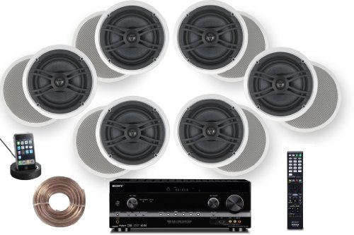 "Sony Hd Digital Cinematic Sound 770 Watts 7.1 Channel 3D A/V Receiver With Iphone & Ipod Dock + Yamaha Natural Sound Custom Install In-Ceiling 2-Way 150 Watts Speaker (Set Of 6) With 8"" Kevlar Cone Woofers & 1"" Swivel Titanium Dome Tweeter Designed + 100F"