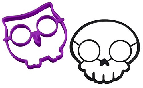 Clearance Sale - Ozera Silicone Egg Mold Ring, Purple Owl Shaped Egg Ring & Black Skull Shaped Egg Ring, Set of 2