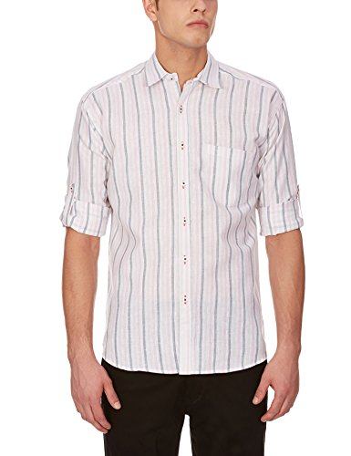 Blue Fire Men's Striped Full Sleeve Slim Fit Poly Cotton Casual Shirt (BF10040138)  available at amazon for Rs.299