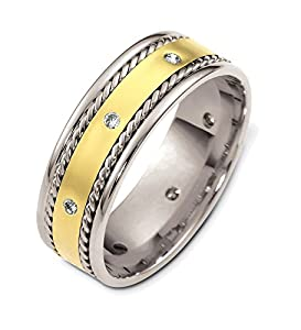 Mens Platinum 18K Yellow Gold, Rolled Braid 7.5MM Wed. Band, 1/10 cttw
