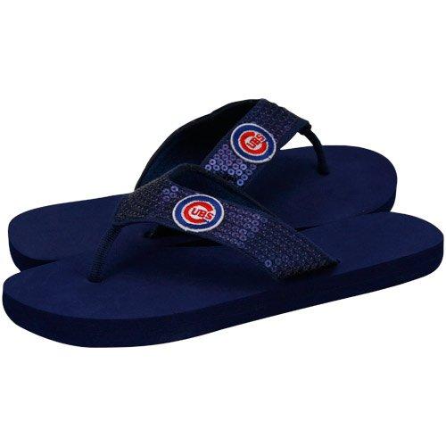 e70856fa5a6a7e flip flop socks  MLB Chicago Cubs Ladies Navy Blue Sequin Strap Flip ...