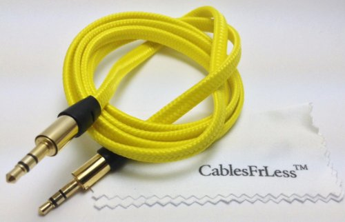 Cablesfrless (Tm) 3Ft 3.5Mm Flat Braided Auxiliary Aux Cable (Yellow)