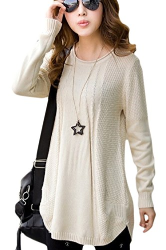 Pink Wind Womens Sheer Crew Neck Slim Fit Knitted Sweater Pullover Jumper Beige