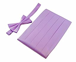 Men\'s 100% Pure Silk Cummerbund & Bow Tie Set - Multi Colors (Lilac)