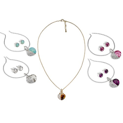 Hearts Necklace & Earrings Set in Swarovski Crystals Elements, the finest quality crystals. Jewellery set with Heart pendant with a large single Swarovski Pear Drop Diamond, and Clear Crystals. The earrings are Stunning, large single 10mm matching stud cr