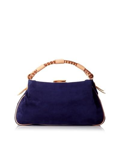 MALO Women's Suede Woven Handle Satchel, Purple