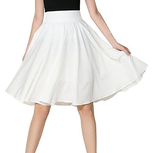 XINUO Women Summer Skirts Knee Length 360° Big Swing Skater Party Full Midi Skirt (US4=S,White) (Full Skater Skirt compare prices)