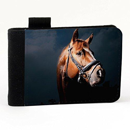 Cavalli 10029, Cavallo Marrone, Nero Polyester Piccolo Cartella Congressi block notes Tasca Taccuino con Fronte di Sublimazione e alta qualità Design Colorato.Dimensioni A7-131x93mm.