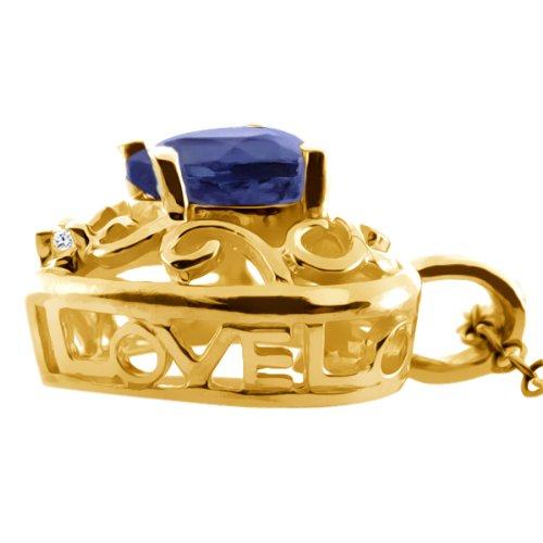 0.59 Ct Heart Shape Blue Iolite White Diamond 18K Yellow Gold Pendant