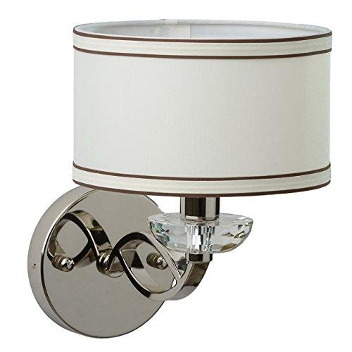 Luminaire applique métal couleur chrome cristal abat-jour textile tissu blanc brun style moderne 1 ampoule non-incl.E14 1*40W 230V