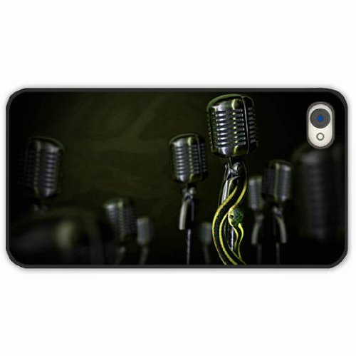 Apple Iphone 4 4S Cases Customized Gifts Of Situations Snake Microphone Black