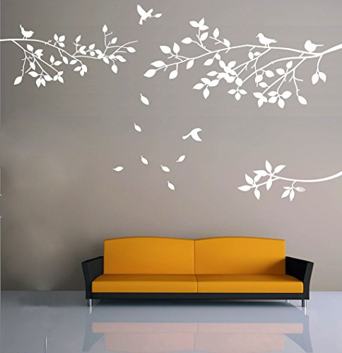 Elegant Tree and Birds Wall Decal Art Branch Wall Sticker Living Room Decoration (White, XL) (Wall Decals White compare prices)