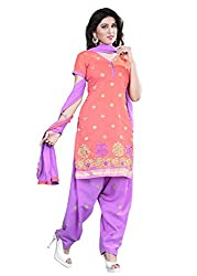 Blissta Peach Chanderi Embroidered Unstitched Dress Material