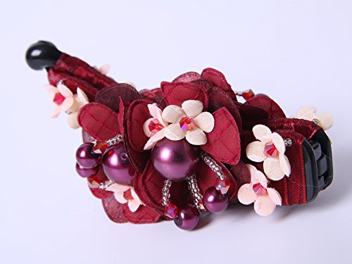 gorgeous-flower-fabrics-ponytail-holder-banana-hair-clip-with-lovely-bead-red