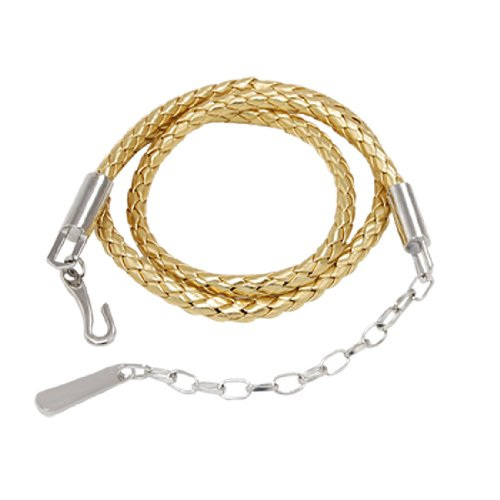 Lady Braid Faux Leather Dress Belt Gold Tone with Chain
