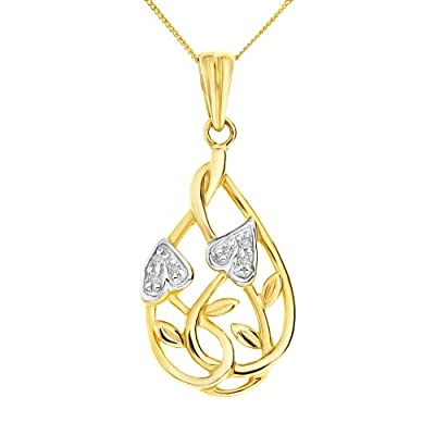 Ornami Glamour 9ct Yellow Gold Diamond accent Leaf and Interlacing Stem design Pendant with 46cm Chain