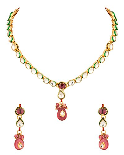 Voylla Gold Plated Kundan Drop Necklace Set (yellow)