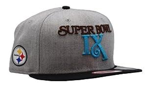 Pittsburgh Steelers Super Bowl IX Grey-Black Snapback Cap from SteelerMania