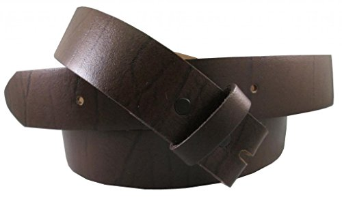Belt for Buckles 100% Top Grain One Piece Leather, up to Size 62, Made in USA, brown Size 34