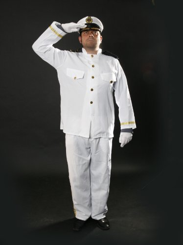 CAPTAIN FANCY DRESS COSTUME,4 PIECE INC TOP TROUSERS GLOVES SATIN HAT, MENS SIZE LARGE UP TO 46 INCH CHEST
